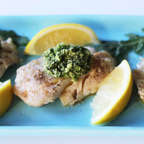 15 minute halibut with dill pesto