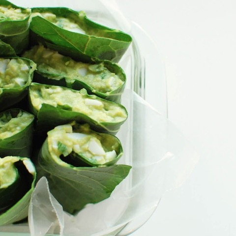 Avocado egg salad collard wraps