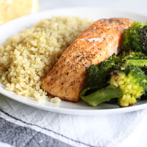 Baked salmon with broccoli quinoa
