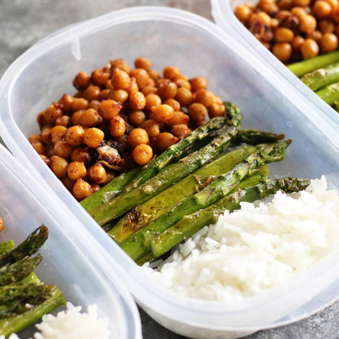Honey garlic chickpeas with asparagus rice