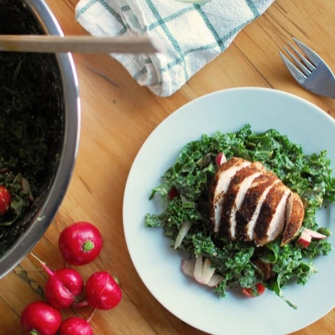 Kale caesar salad with blackened chicken