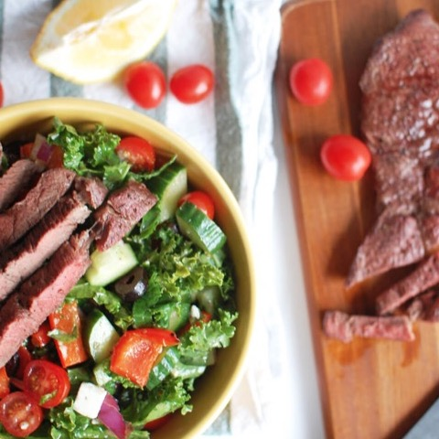 Kale greek salad with steak