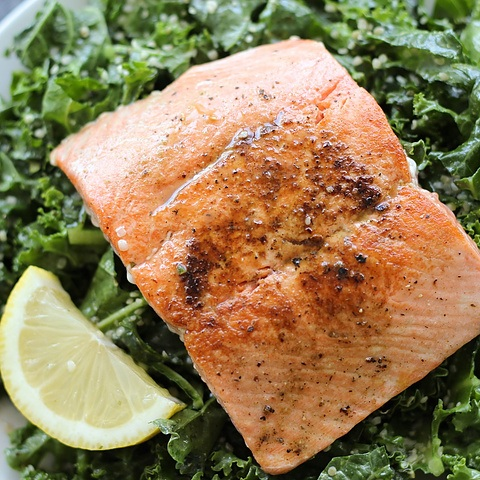 Massaged kale salad with salmon