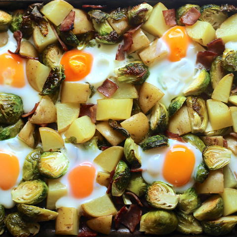 One pan bacon eggs brussels sprouts