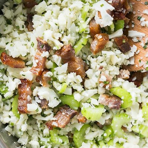 Pork belly cauliflower fried rice