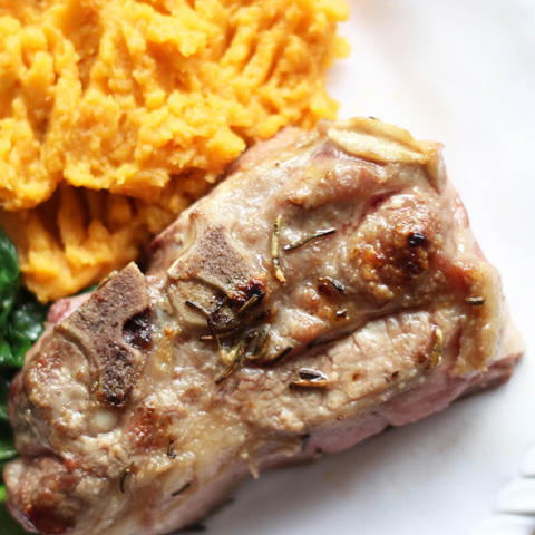 Rosemary lamb chops with sweet potato mash
