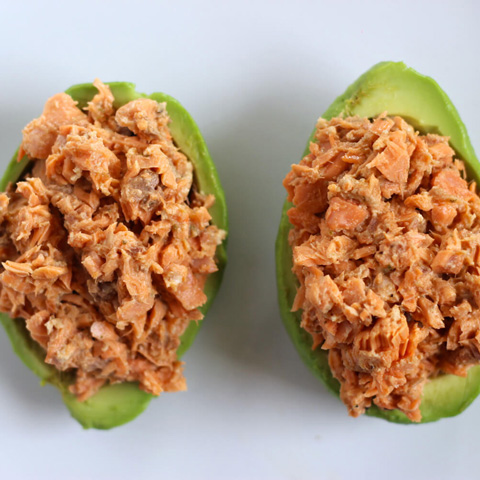 Salmon stuffed avocado boats