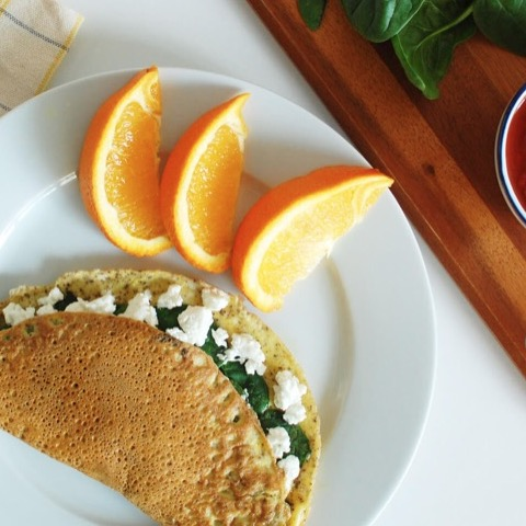 Spinach goat cheese omelette